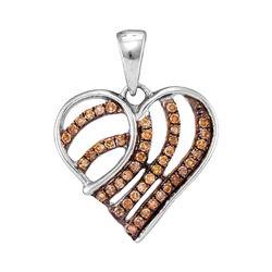 Womens Round Brown Diamond Striped Heart Pendant 1/4 Cttw 10kt White Gold - REF-10K5Y