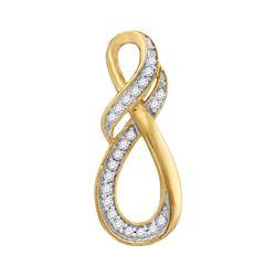 Womens Round Diamond Twist Fashion Pendant 1/10 Cttw 10kt Yellow Gold - REF-7H5R