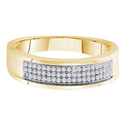 Mens Round Diamond Band Ring 1/5 Cttw 10kt Yellow Gold - REF-19W5K