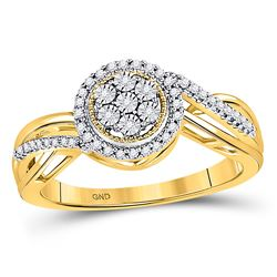Womens Round Diamond Flower Cluster Ring 1/6 Cttw 10kt Yellow Gold - REF-17F5W