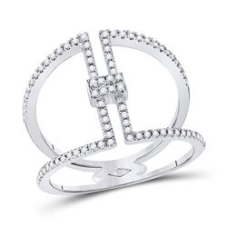 Womens Round Diamond Negative Space Band Ring 1/4 Cttw 10kt White Gold - REF-16R9X