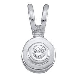 Womens Round Diamond Solitaire Circle Pendant .03 Cttw 10kt White Gold - REF-3R9X