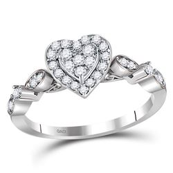 Womens Round Diamond Heart Cluster Ring 1/3 Cttw 14kt White Gold - REF-34N5F