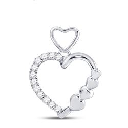 Womens Round Diamond Heart Pendant 1/12 Cttw 10kt White Gold - REF-7M5H