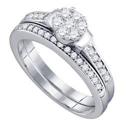 Diamond Cluster Bridal Wedding Ring Band Set 1/2 Cttw 10kt White Gold - REF-41A9M