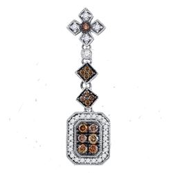 Womens Round Brown Diamond Fashion Pendant 1/2 Cttw 14kt Yellow Gold - REF-36F9W