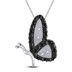 Womens Round Black Color Enhanced Diamond Butterfly Bug Pendant 1/4 Cttw 10kt White Gold - REF-9K5Y