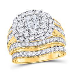 Princess Diamond Bridal Wedding Ring Band Set 2-1/2 Cttw 14kt Yellow Gold - REF-206W9K