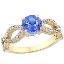 1.09 CTW Tanzanite & Diamond Ring 10K Yellow Gold - REF-56M7A