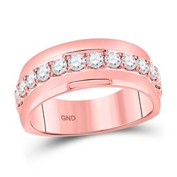 Mens Machine Set Round Diamond Wedding Band Ring 1 Cttw 14kt Rose Gold - REF-120X5A