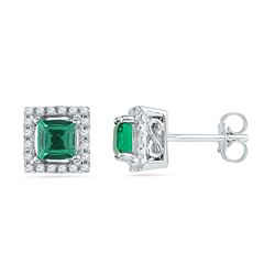 Womens Princess Lab-Created Emerald Stud Earrings 1/8 Cttw 10kt White Gold - REF-13W9K