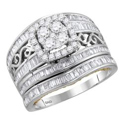 Round Diamond Cluster Bridal Wedding Ring Band Set 1-1/2 Cttw 14kt Two-tone Gold - REF-101W5K