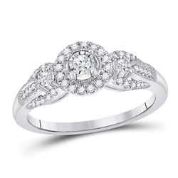 Womens Round Diamond 3-stone Ring 1/4 Cttw 14kt White Gold - REF-30X5A