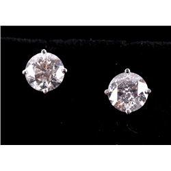 Brand New 2.62 ct. Diamond 18K Stud Earrings