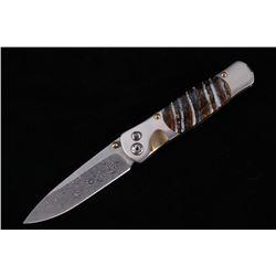 Tesoro Damascus Titanium Mammoth Tooth Knife