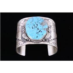 Navajo R. Enricuez Kingman Turquoise Sterling Cuff