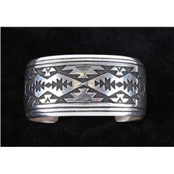 Navajo T&R Singer Large Sterling Silver Bracelet