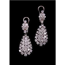 Vintage Estate 3.65ct Diamond 14K Dangle Earrings