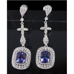 Tanzanite & Diamond 14K Gold Dangle Earrings