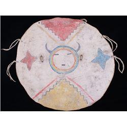 Pueblo Polychrome Painted Hide Shield c. 1890-1900