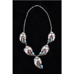 Navajo Morenci Turquoise, Coral & Silver Necklace