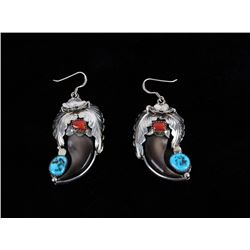 Navajo Morenci Turquoise, Coral & Silver Earrings