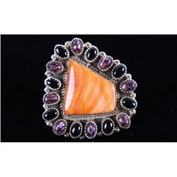 Navajo LARGE Red Spiny Oyster & Onyx Silver Ring