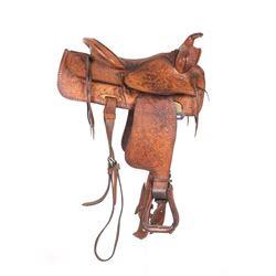 Brahma Tex Tan Ornate Texas Western Saddle