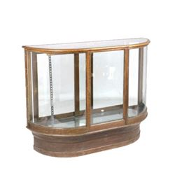Wilmarth Curved Glass & Wood Display Case c. 1914