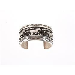 Navajo TR Singer Stallion Sterling Silver Bracelet