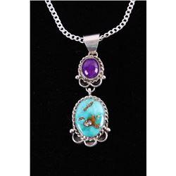 Navajo Sugalite & Kingman Turquoise Necklace