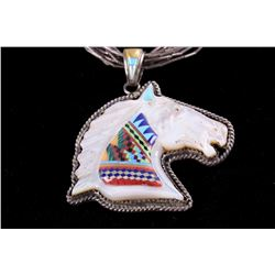 Zuni Mother of Pearl Horse Mosaic Inlay Necklace