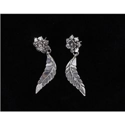 Navajo L. James Sterling Silver Floral Earrings