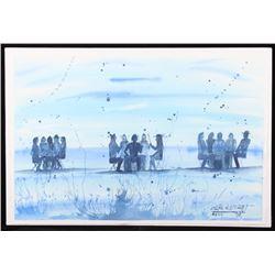 Original Watercolor by Crow Native Leland Stewart