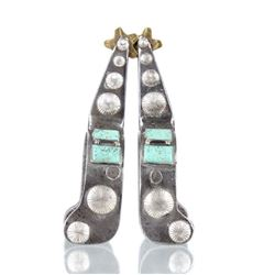 Mid 1900's Silver & Cripple Creek Turquoise Spurs