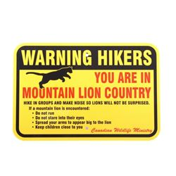Mountain Lion Warning Sign from Canada