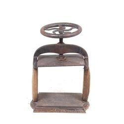 19th Century Iron & Oak Crank Book Press