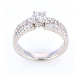 Art Deco Style 1.00 cts. Diamond 14K Gold Ring