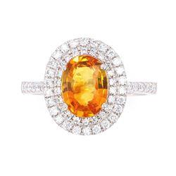 RARE Mandarin Sapphire & Diamond Platinum Ring