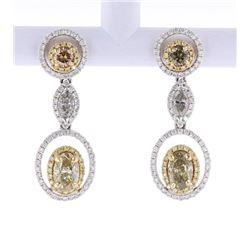 Fancy Colored Diamond 14K Gold Dangle Earrings