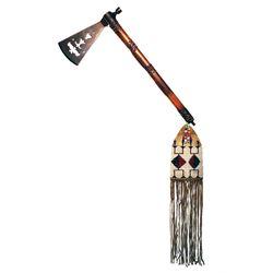American Indian Triple Batwing Pipe Tomahawk 19th