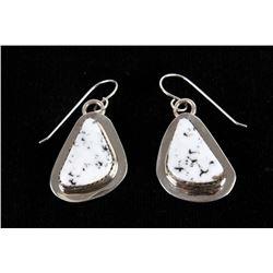 Navajo B. Tsosie White Buffalo Sterling Earrings