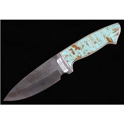 Navajo Wilson Dawes No. 8 Turquoise Damascus Knife