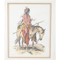 Original Jackson Buffalo Hunter Pen & Ink Painting