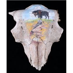 Fossilized MT Occidentalis Bison Skull w/ Painting
