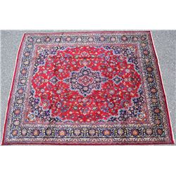 Mashad Persian Hand Knotted Wool Rug 1900's