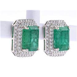 Classic 7.68ct Emerald & Diamond Platinum Earrings