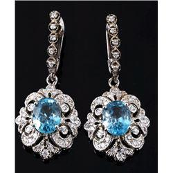 RARE Blue Zircon & Diamond 14K Dangle Earrings