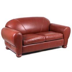 Western Genuine Red Leather Sofa