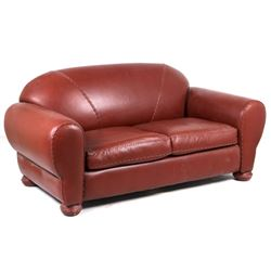 Western Genuine Red Leather Sofa